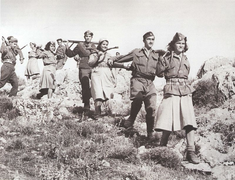 A group of Macedonian female partisans, participants in the Greek Civil War (1946 - 1949) on the side of NOF