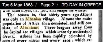 1894 US newspaper report - Greek national costume is originally Albanian. The Greenville Times, US, March 31, 1894